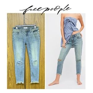 NEW Free People Chewed Distressed Hem Cropped Jean